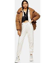 brown oversized puffer jacket - beige