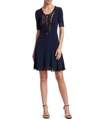 compact crochet fit-&-flare dress