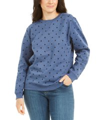 karen scott dot-print crewneck sweatshirt, created for macy's