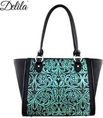 delila collection montana west 100% genuine leather tooled satchel tote handbag