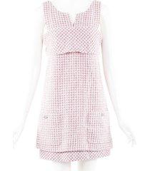 chanel layered tweed mini dress pink/multicolor sz: m