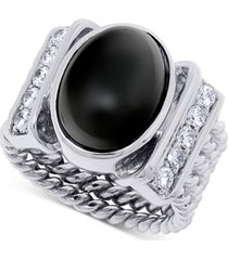 onyx (15 x 10mm) & swarovski zirconia statement ring in sterling silver