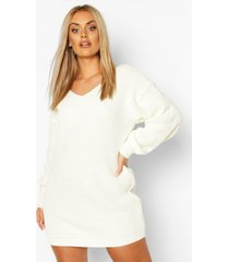 plus v-neck sweater mini dress, cream