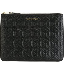 comme des garçons wallet 'classic embossed a' purse - black