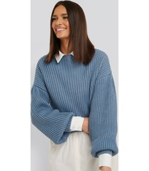 na-kd balloon sleeve knitted sweater - blue