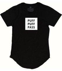 camiseta longline stoned puff puff pass masculina - masculino