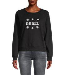 rebecca minkoff women's graphic cotton-blend sweatshirt - black white - size xs