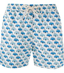 mc2 saint barth vintage car print swim shorts - white
