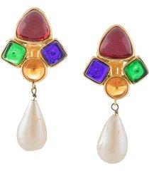 chanel pre-owned 1991 gripoix swing earrings - multicolour