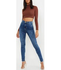 tall high waisted acid wash jegging, blue