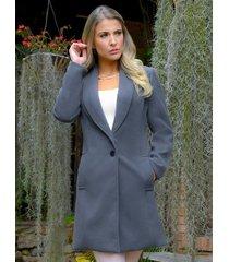 abrigo clásico outfit 6006 para mujer gris