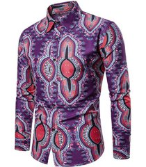 allover tribal graphic print long sleeve shirt