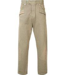 balmain biker fly baggy trousers - brown