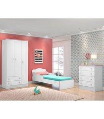 jogo de quarto infantil doce sonho 3 portas com mini cama branco/rosa - qmovi