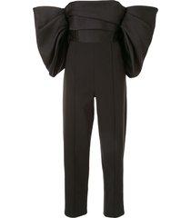 solace london billowing-sleeved off the shoulder jumpsuit - black
