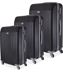 conjunto de mala de viagem em abs ika continental cadeado rodas giro 360º 3 peças p/m/g preto
