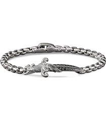 'waves' diamond silver dagger charm bracelet