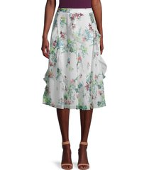 ted baker london women's lurissa floral-printed skirt - ivory - size 2 (6)