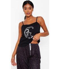 hemdje & broek pyjama set met maan en sterren, black