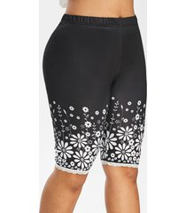 floral high waisted lace trim knee length plus size leggings