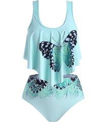 butterfly flounces strappy plus size tankini swimwear