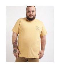 """camiseta masculina plus size chasing summer"""" manga curta gola careca amarela"""""""