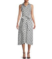 lisa marie fernandez women's alison polka dot linen dress - white black - size s