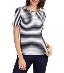 trina turk women's striped short-sleeve top - indigo white - size xs