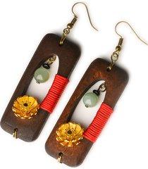 orecchini di giada di legno fatti a mano etnici orecchini di margherite d'oro vintage a forma di fiore per le donne
