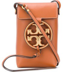 tory burch miller phone crossbody bag - brown