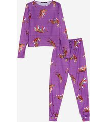womens drive me wild tiger tee and jogger pajama set - purple