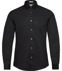 plain twill stretch shirt l/s overhemd casual zwart lindbergh