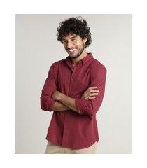 camisa masculina comfort fit estampada xadrez manga longa vermelha