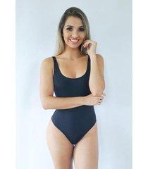 maiô pink tricot body swimsuit frente única feminino - feminino