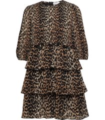 pleated georgette korte jurk bruin ganni