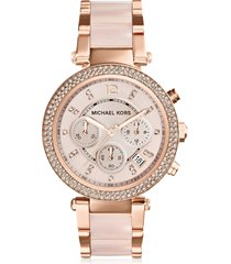 michael kors designer women's watches, mid-size rose golden stainless steel parker chronograph glitz watch