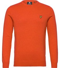 cotton merino crew jumper gebreide trui met ronde kraag oranje lyle & scott