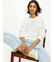 tommy hilfiger women's icon open knit sweater optic white - s