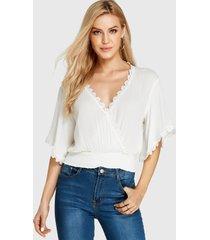 yoins frente cruzado blanco diseño v profundo cuello blusa con mangas murciélago