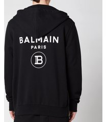 balmain men's zipped printed hoodie - black - l