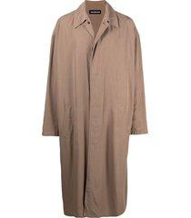 balenciaga mid-length car coat - brown
