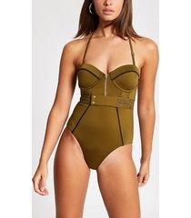 river island womens khaki half zip stitch balconette swimsuit