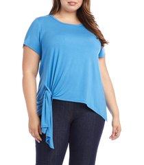 plus size women's karen kane asymmetrical side tie short sleeve top, size 3x - blue