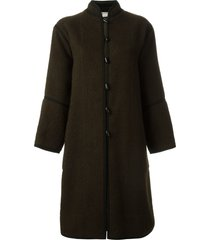 yves saint laurent pre-owned toggle coat - brown