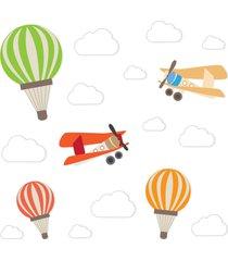 adesivo de parede balões e aviões para quarto de bebê cobre 2m²