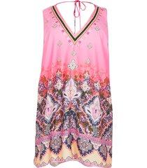 river island womens plus pink paisley print tunic beach dress