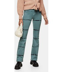 teal tie dye stretch flare jeans - teal