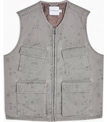 mens grey gray abstract camouflage vest