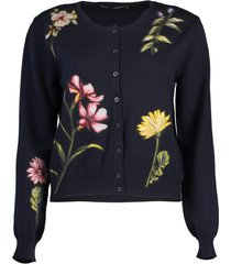 navy long sleeve floral embroidered cardigan