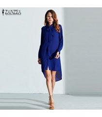 zanzea blusas de moda venta caliente camisa de mujer vestido de manga larga casual amsymetircal blusas de gasa tallas grandes s-5xl tops (azul) -azul